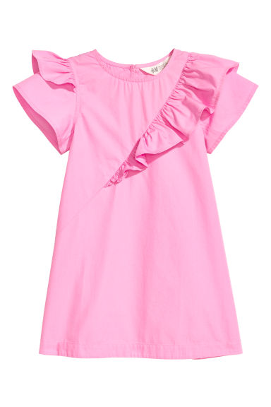 Cotton dress with frills - Pink -  | H&M CN