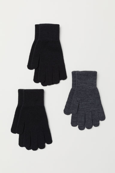 3-pack gloves - Dark grey/Black - Kids | H&M