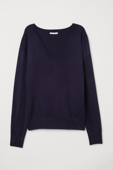 Fine-knit jumper - Dark blue - Ladies | H&M IN