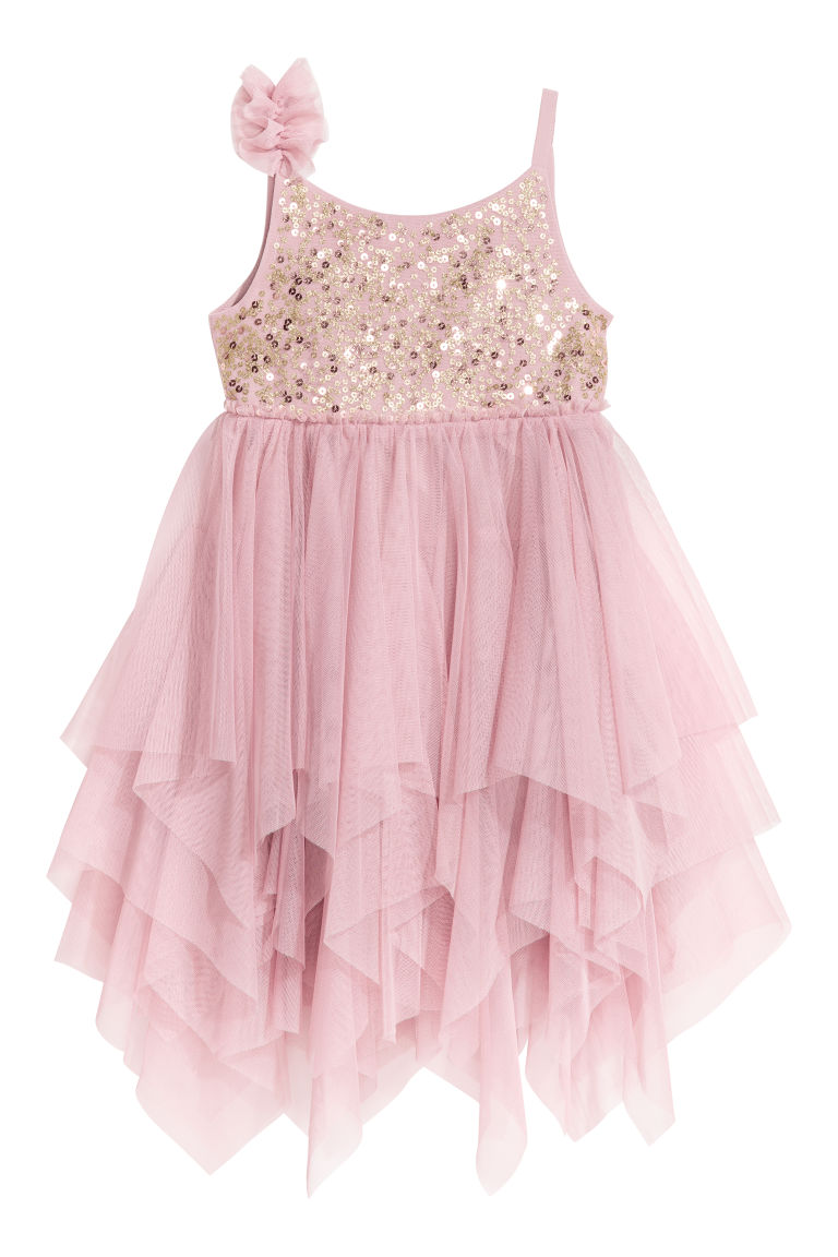 Tulle dress with sequins - Old rose - Kids | H&M