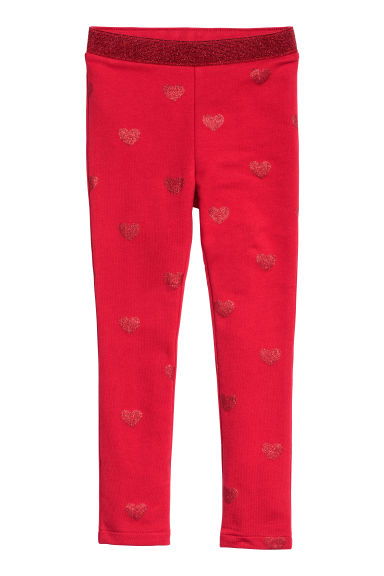 Legging en jersey - Rouge/cœurs -  | H&M BE