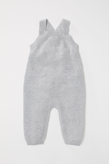 Textured-knit dungarees - Light grey marl - Kids | H&M