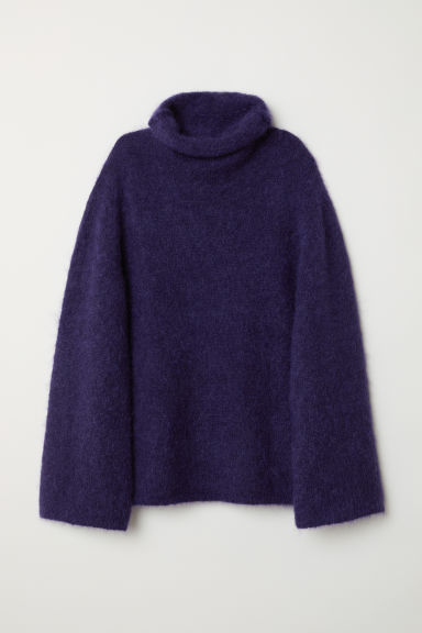 Mohair-blend polo-neck jumper - Dark purple - Ladies | H&M