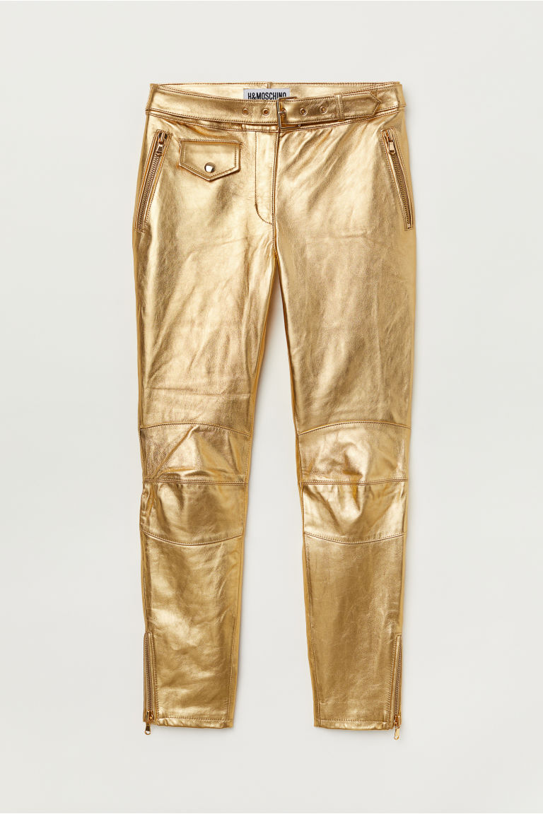 Ankle-length leather trousers - Gold-coloured - Ladies | H&M CN