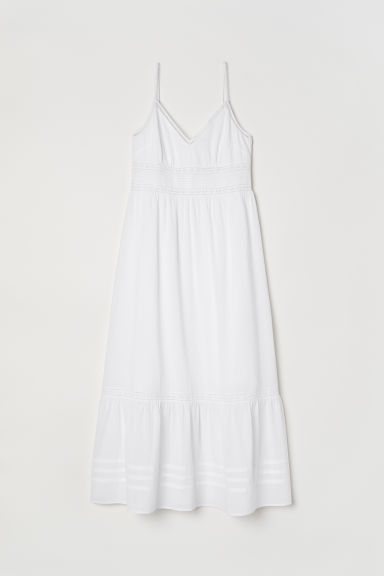 Long dress with lace details - White - Ladies | H&M