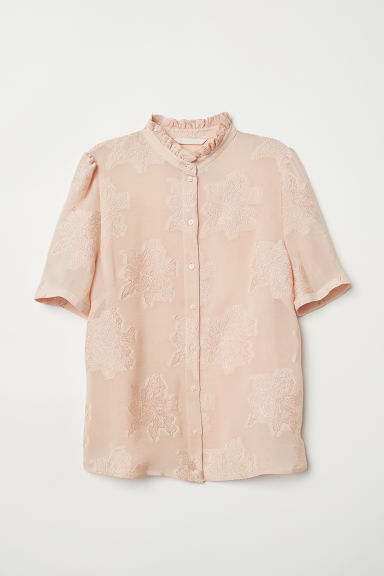 Jacquard-weave blouse - Powder pink - Ladies | H&M