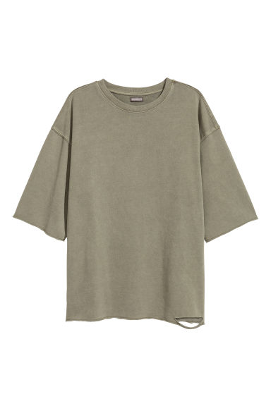Short-sleeved top - Khaki green - Men | H&M CN
