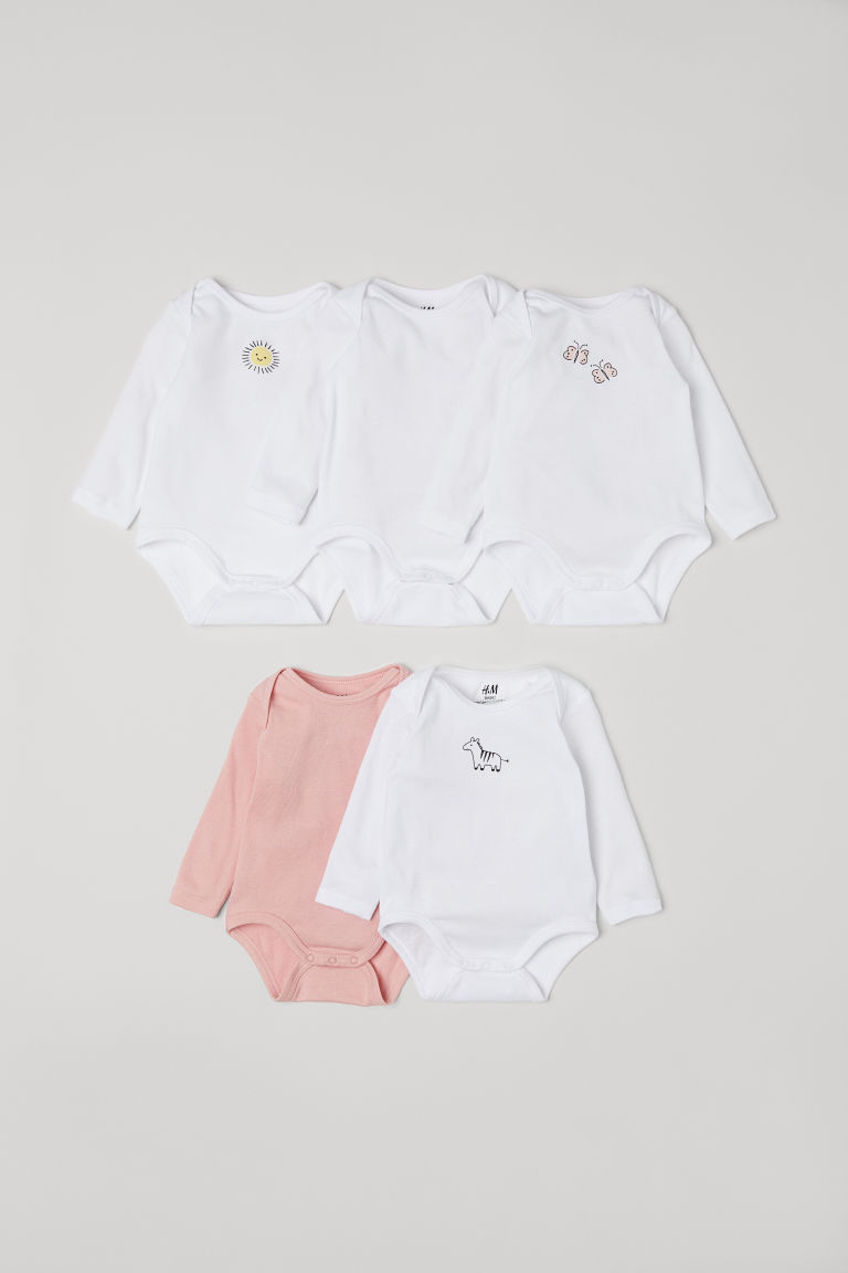 Bodies à motif, lot de 5 - Blanc/rose -  | H&M FR