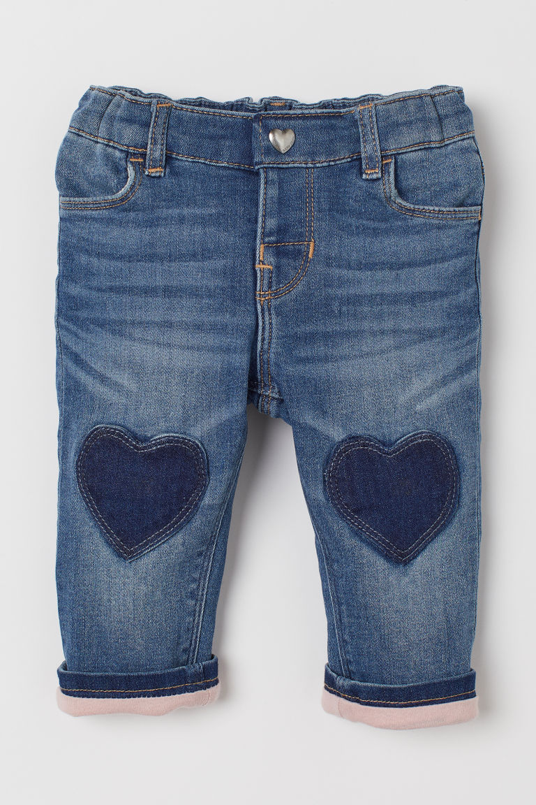 Jersey-lined jeans - Denim blue/Hearts - Kids | H&M IN