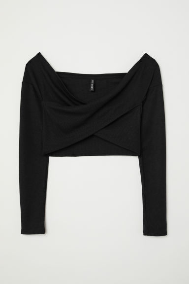 Off-the-shoulder wrapover top - Black -  | H&M