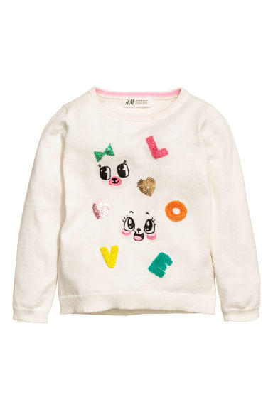 Knitted jumper with a motif - White/Love -  | H&M CN