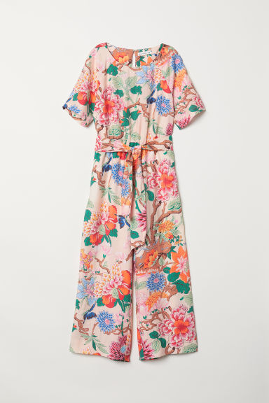 Jumpsuit - Light beige/Floral - Ladies | H&M CN