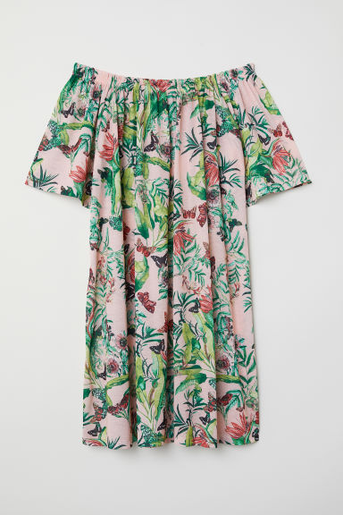 Off-the-shoulder dress - Powder pink/Floral - Ladies | H&M