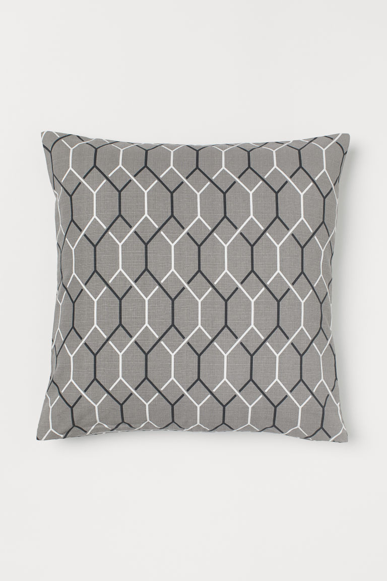 Patterned Cushion Cover - Gray/patterned -  | H&M US