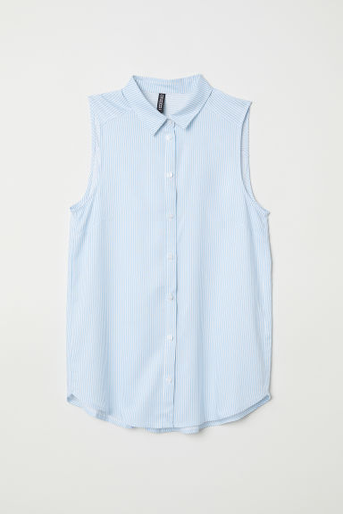 Sleeveless viscose blouse - Light blue/Striped -  | H&M CN