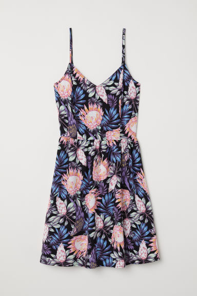 Short dress - Black/Botanical -  | H&M