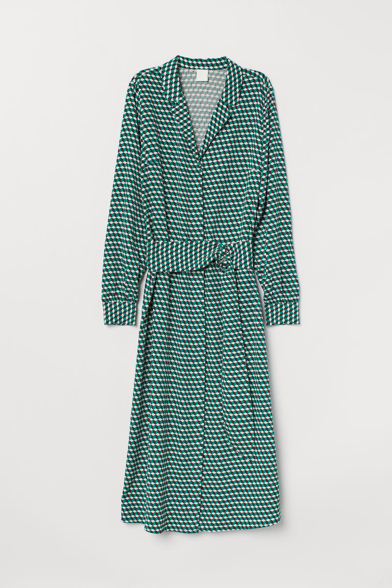 V-neck dress - Green/Patterned - Ladies | H&M