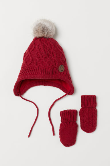 Hat and mittens - Red - Kids | H&M