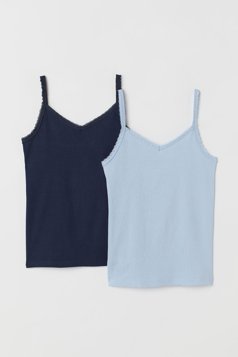 2-pack, lace-trimmed vest tops - Dark blue/Light blue - Kids | H&M CN