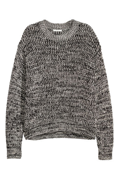 Chunky-knit jumper - White/Black marl - Ladies | H&M