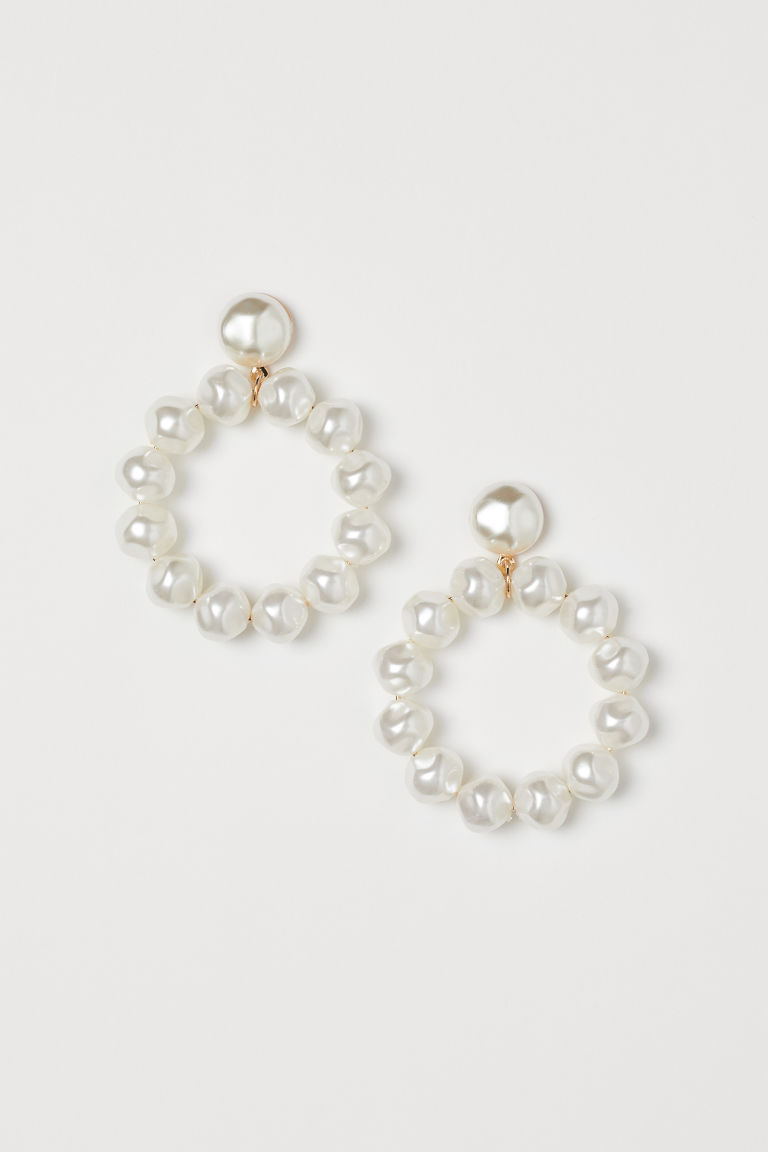 Earrings with Beads - White - Ladies | H&M US