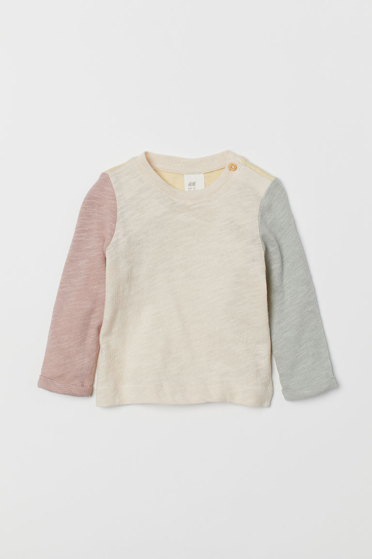 Block-coloured top - Light beige/Multicoloured - Kids | H&M