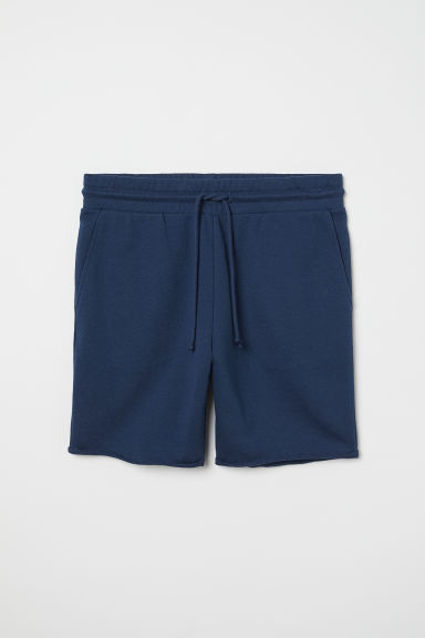Raw-edged sweatshirt shorts - Dark blue - Men | H&M
