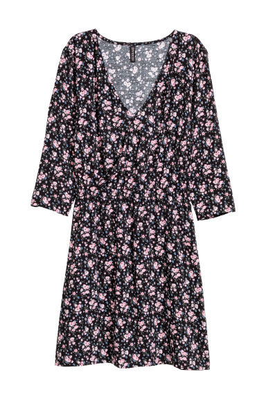 V-neck dress - Black/Floral - Ladies | H&M CN