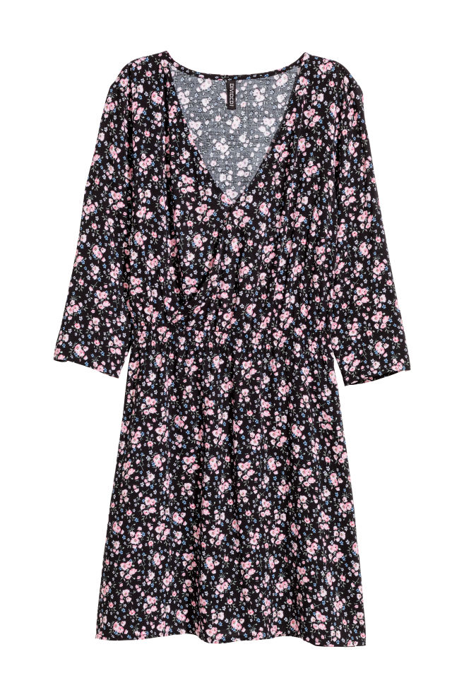 a3fe1bc541d9 V-neck Dress - Black/floral - | H&M ...