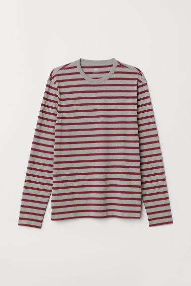 Long-sleeved top Regular fit - Burgundy/Grey marl - Men | H&M
