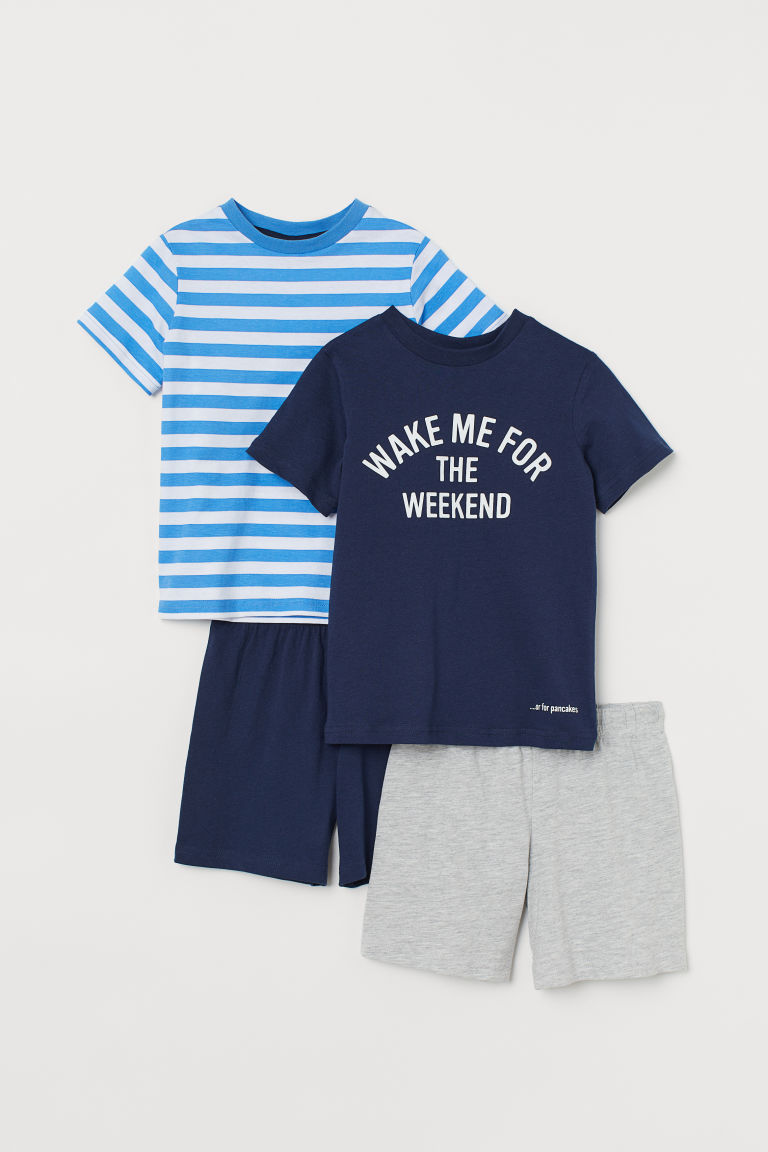 2-pack jersey pyjamas - Dark blue/Wake Me - Kids | H&M