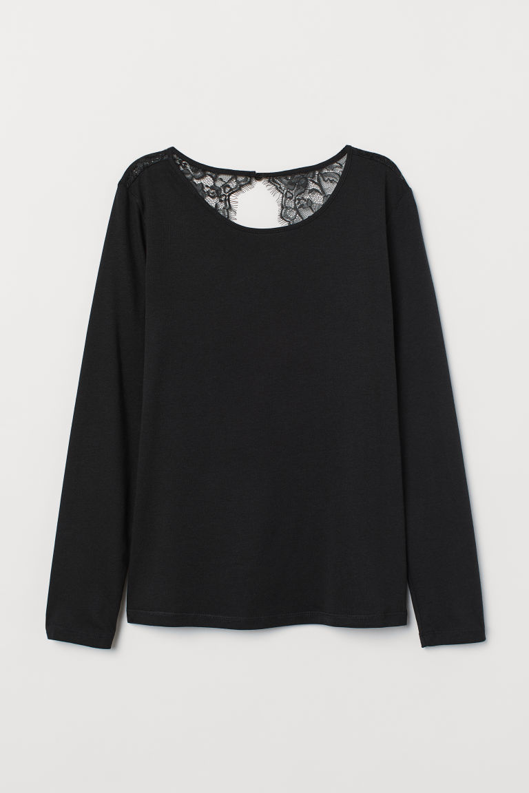 Jersey top with lace - Black - Ladies | H&M