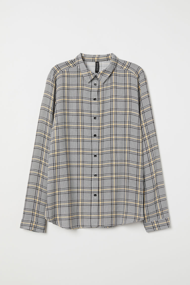 Camicia in viscosa - Bianco/giallo quadri -  | H&M IT
