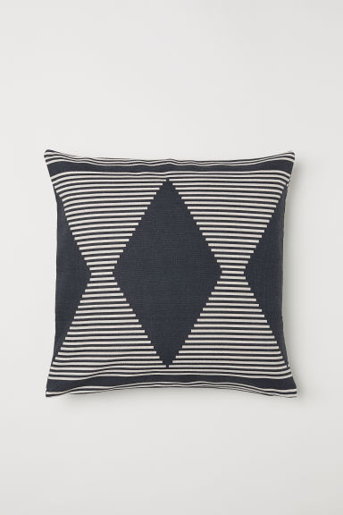 Patterned cotton cushion cover - Dark grey/Patterned - Home All | H&M CN