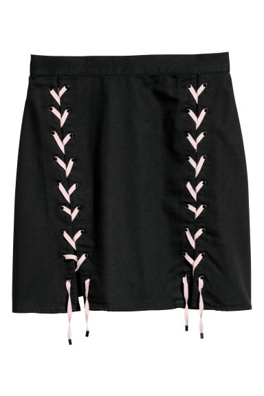 Skirt with lacing - Black -  | H&M IE