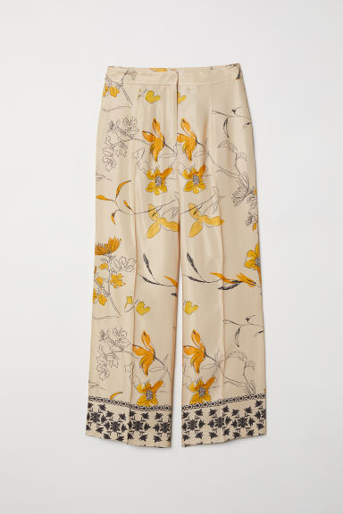 Wide trousers - Beige/Patterned - Ladies | H&M