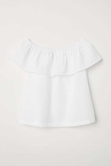 Off-the-shoulder blouse - White/White striped -  | H&M CN