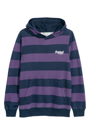 Hooded top - Purple/Striped - Kids | H&M