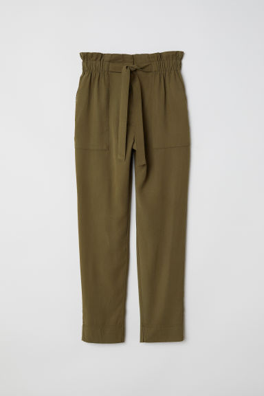 Paper bag trousers - Dark khaki green - Ladies | H&M GB