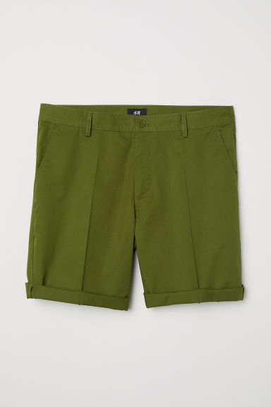 Chino shorts - Dark khaki green -  | H&M CN