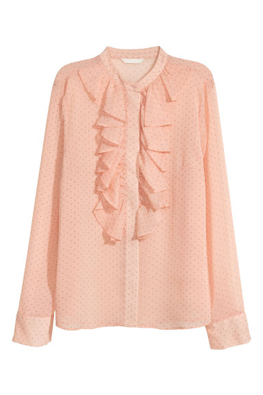 Crinkled flounced blouse - Peach/Spotted - Ladies | H&M CN