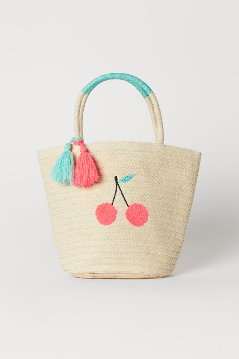 Straw Bag with Tassels - Natural/cherries -  | H&M CA