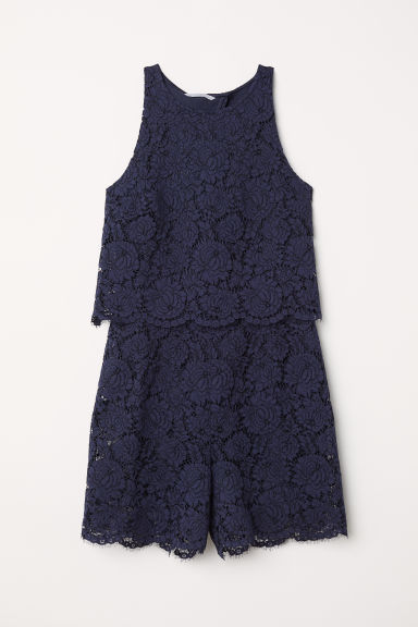 Lace playsuit - Dark blue - Ladies | H&M