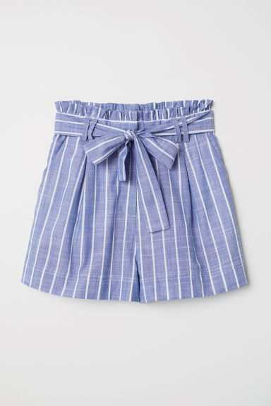 Striped cotton shorts - Light blue/White striped -  | H&M