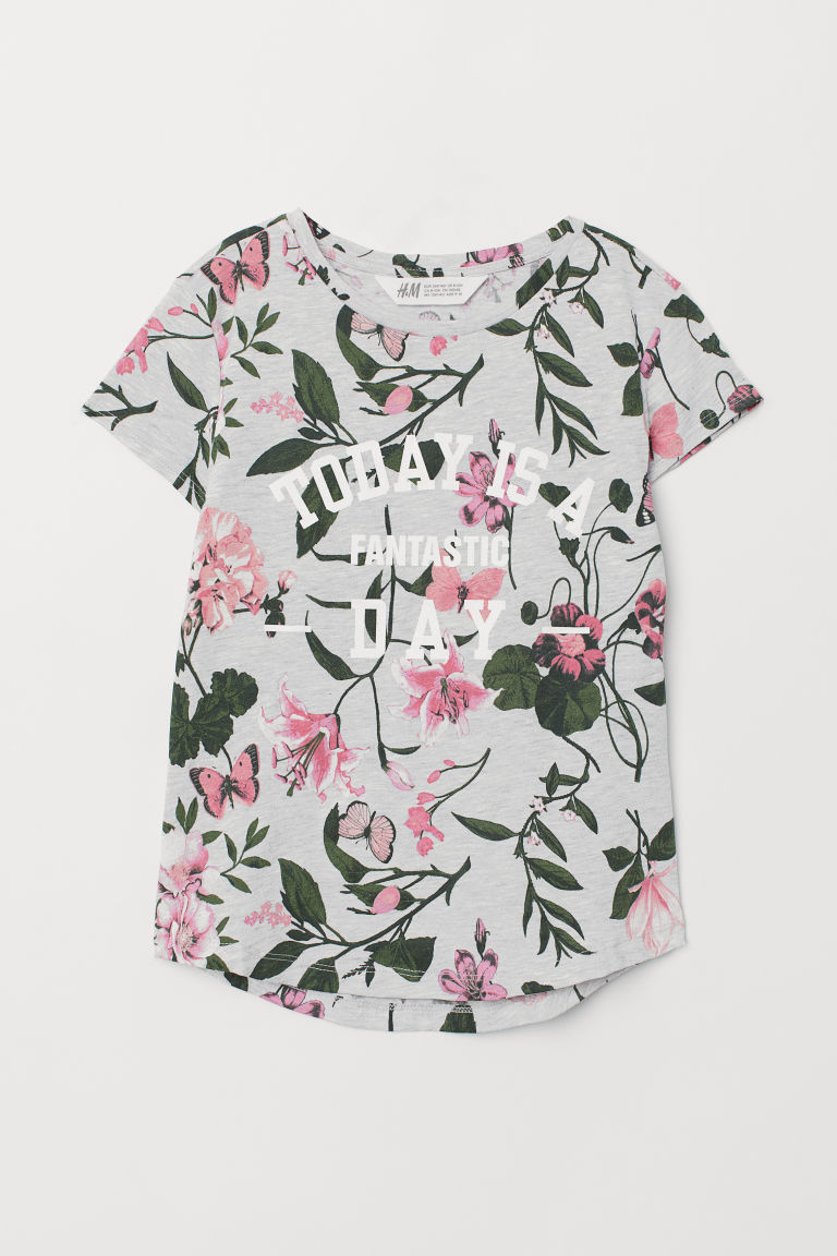 Printed T-shirt - Light grey marl/Floral - Kids | H&M IN