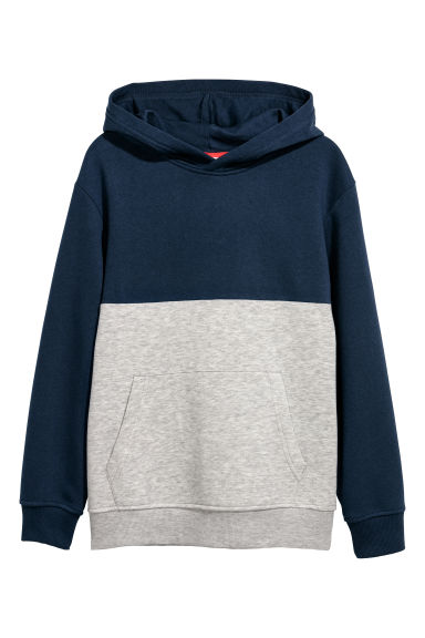 Hooded top - Dark blue/Light grey - Kids | H&M