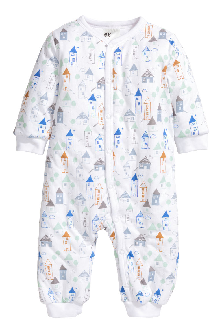 Padded all-in-one pyjamas - White/House - Kids | H&M CN