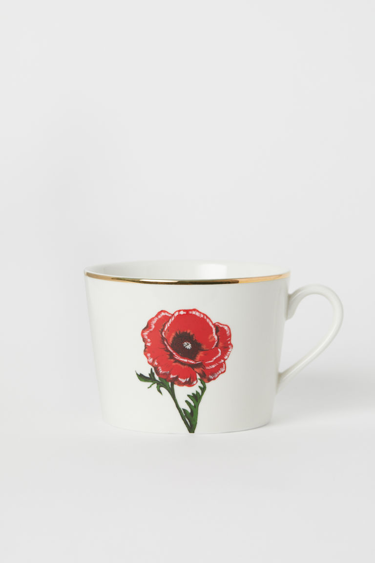 Tazza in porcellana con motivo - Bianco/papavero - HOME | H&M IT