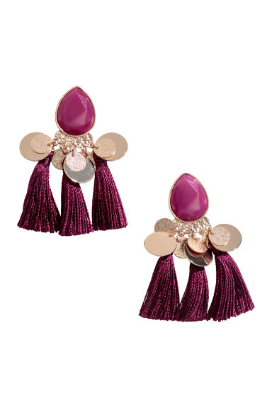 Tasselled earrings - Plum -  | H&M