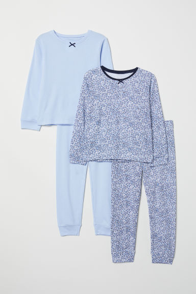 2-pack jersey pyjamas - Light blue/Floral - Kids | H&M